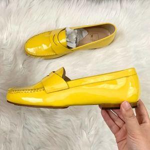 NEW Mondi Patent Leather Loafers Yellow Italian 8